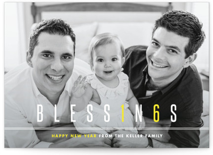 Modern Blessings New Year's Photo Cards