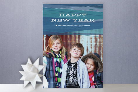 Ribbons New Year Photo Cards