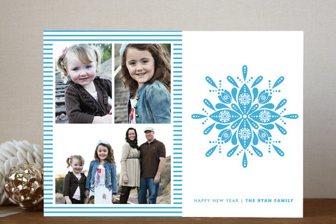 Nordic Snowflake New Year Photo Cards