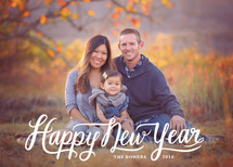 Happy New Year Modern Script New Year's Photo Cards