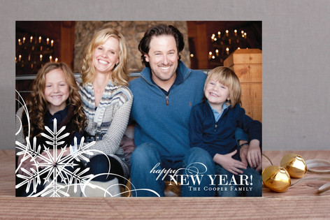 Snowflake Whimsy New Year Photo Cards