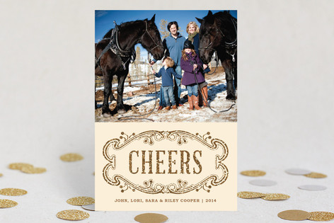Elegant Cheers New Year Photo Cards