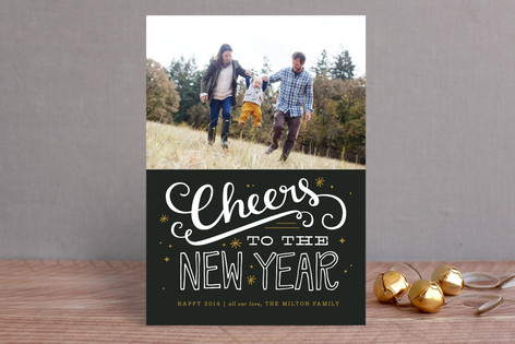 Bold Cheers New Year Photo Cards