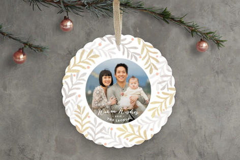 Sparkling Wreath Holiday Ornament Cards