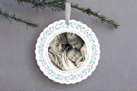 Modern Wreath Holiday Ornament Cards