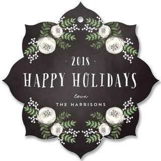 Merry Florals Holiday Ornament Cards