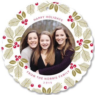 Merry Wreath Holiday Ornament Cards