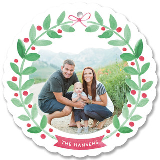 Watercolored Wreath Holiday Ornament Cards