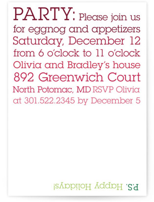 P.S Party Holiday Party Invitations