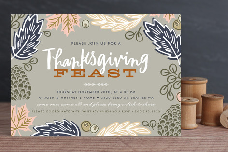 Thanksgiving Feast Leaves Holiday Party Invitations