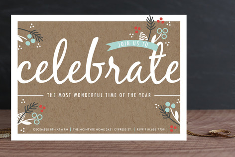 Berry Kraft Holiday Party Invitations