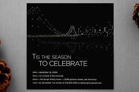 Night Lights SF Holiday Party Invitations
