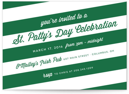 Stripes and St Pattys Holiday Party Invitations