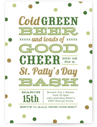 Green Beer Good Cheer Holiday Party Invitations