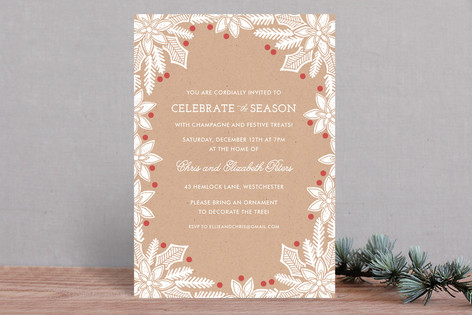 Block Printed Berries Holiday Party Invitations