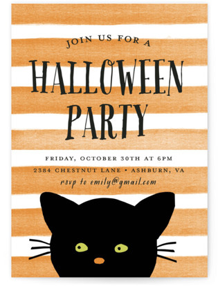 Striped Cat Holiday Party Invitations