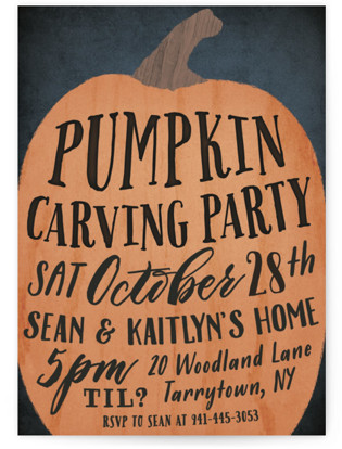 Pumpkin Carving Party Holiday Party Invitations
