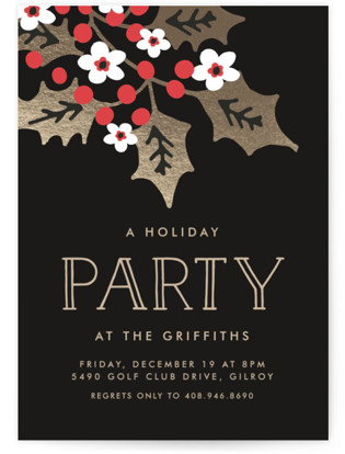 Holly Party Holiday Party Invitations