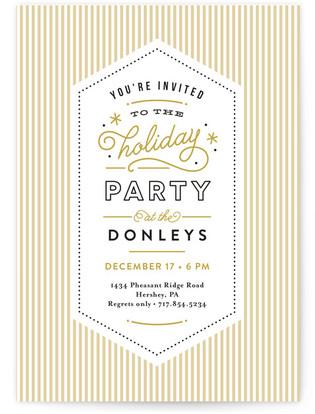 Retro Stripes Holiday Party Invitations