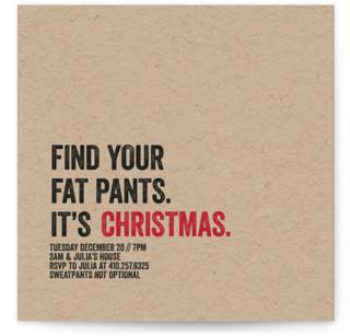 Fat Pants Holiday Party Invitations