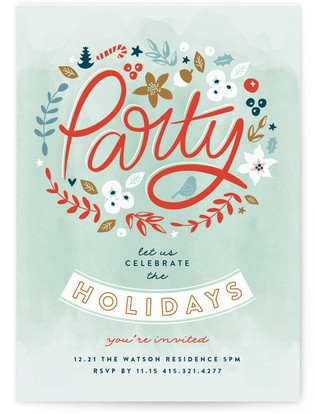 Floral Dance Holiday Party Invitations