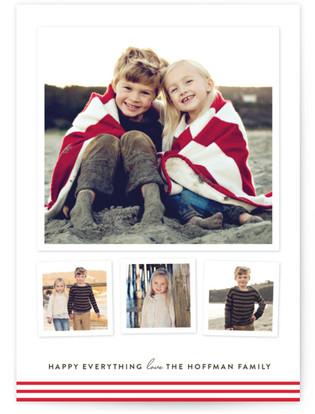 Modern Candy Stripes Holiday Postcards