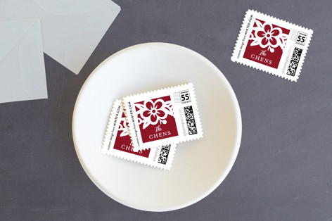 Red Frame no photo Holiday Stamps