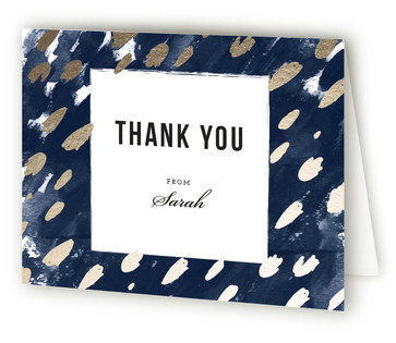 Midnight And Gold Foil-Pressed Baby Shower Thank You Cards