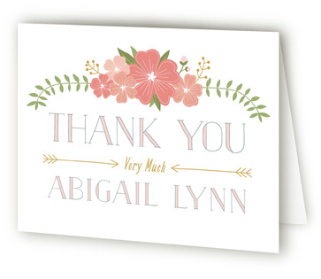 Flowery Sip & See Baby Shower Thank You Cards