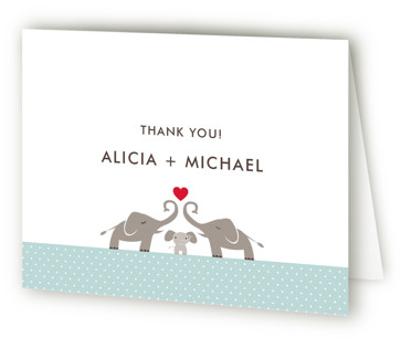 Elephant Family Baby Shower Thank You Cards
