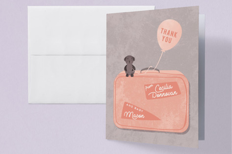 Maternity Suitcase Baby Shower Thank You Cards
