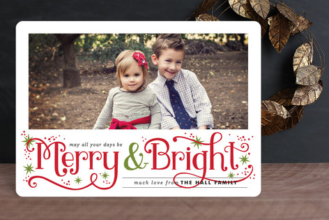 Merry and Bright Sparkles Holiday Photo Cards