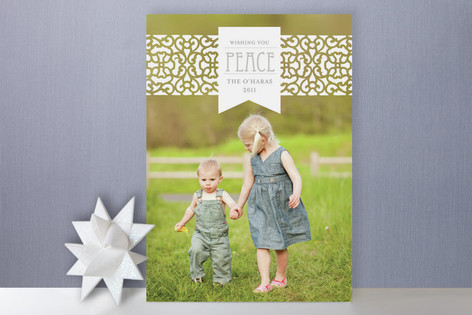 Patterned Band with Ribbon Holiday Photo Cards