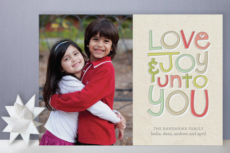 Cheerful Love and Joy Holiday Photo Cards