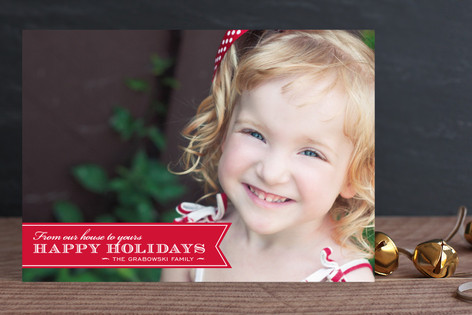 Red Ribbon Happiness Holiday Photo Cards