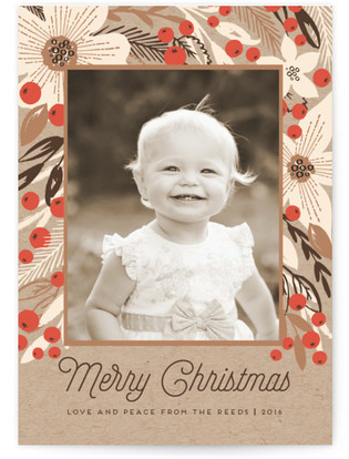 Crafty Floral Holiday Photo Cards