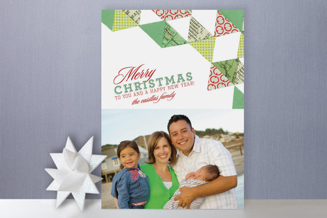 Quilted Christmas Holiday Photo Cards