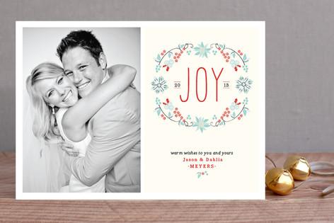 Joyful Wreath Floral Holiday Photo Cards