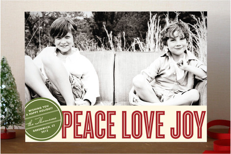 Retro Peace Holiday Photo Cards
