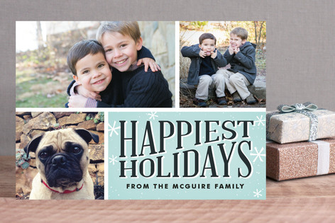 Retro Snowflakes Holiday Photo Cards