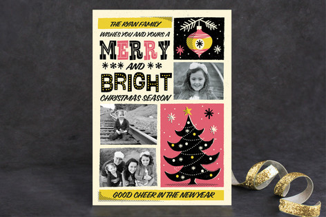 Retro Whimsical Poster Holiday Photo Cards