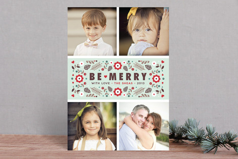 Merry Florals Holiday Photo Cards