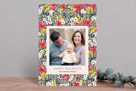 A Holiday Floral Holiday Photo Cards
