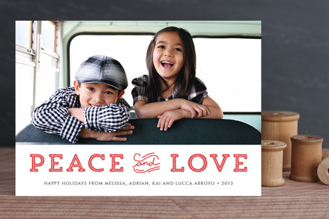 Holiday Peace and Love Holiday Photo Cards