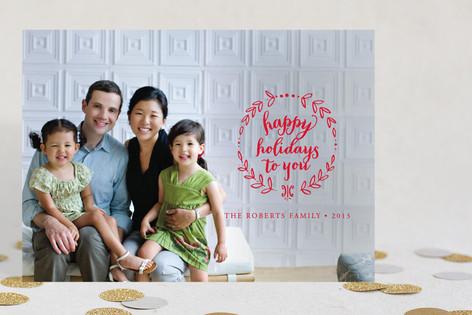 Wreath Noel Holiday Photo Cards