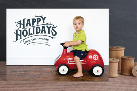 Typographic Greeting Holiday Photo Cards