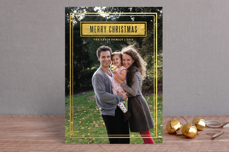Gold Frame Holiday Photo Cards