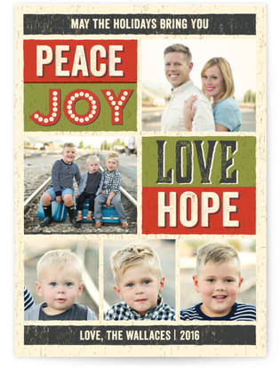 Wood Type Poster Holiday Photo Cards