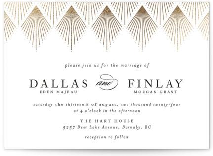 Deco Fan Border Foil-Pressed Wedding Invitations