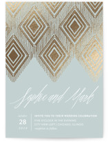 Gilded Ikat Foil-Pressed Wedding Invitations